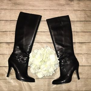 Arturo Chiang Black Heeled Boots Buckle Detail